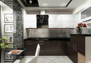 Кухня совмещенная с балконом в темных тонах