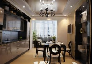 Кухня совмещенная с балконом в темных тонах_2