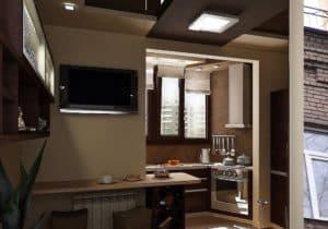 Кухня совмещенная с балконом в темных тонах_3