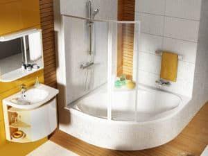 Угловая ванна в интерьере ванной комнаты 1