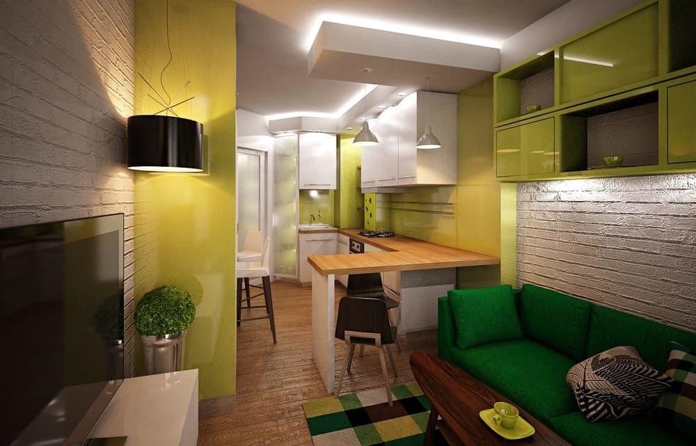 Зонирование прямоугольной кухни