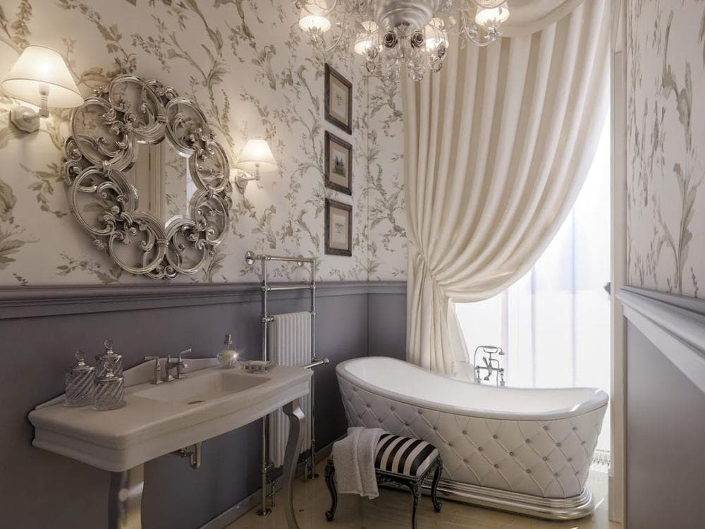 Серо-бежевая ванная комната в классическом стиле