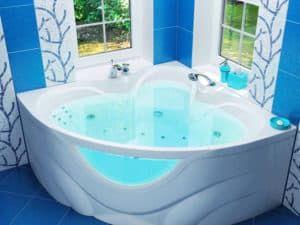 Угловая ванна в интерьере ванной комнаты 2