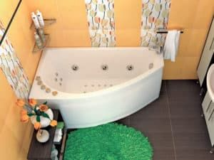 Угловая ванна в интерьере ванной комнаты 3