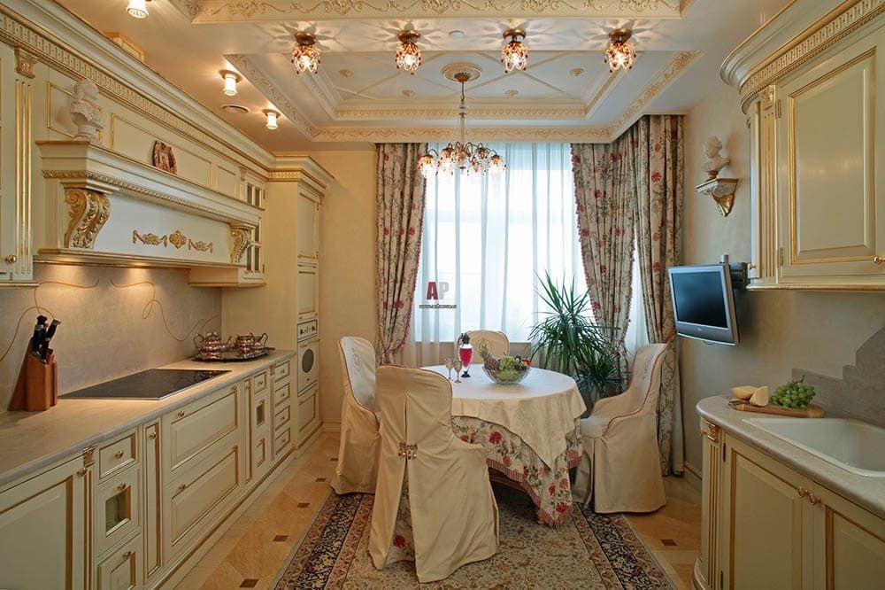 Прямоугольная кухня в классическом стиле