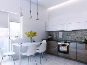 Дизайн кухни в спокойных тонах 2