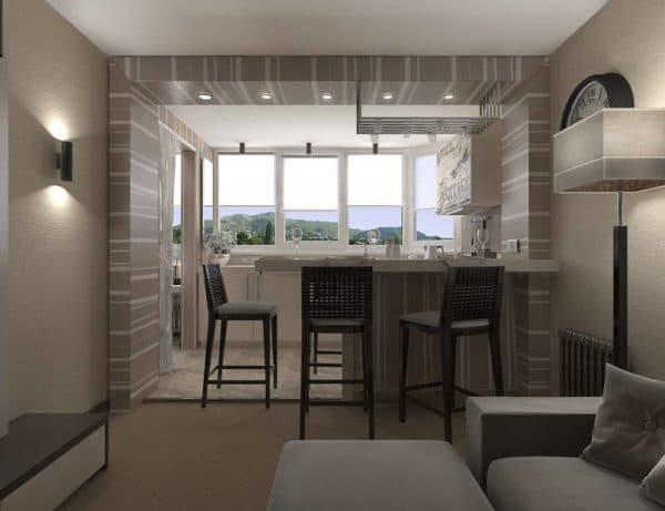 Объединение кухни и балкона в студии