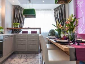 Интерьер прямоугольной кухни 3