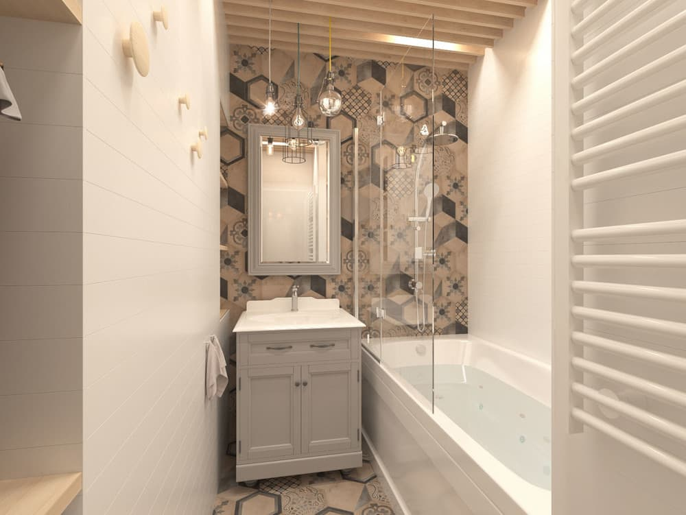 Светло-коричневая ванная в скандинавском стиле