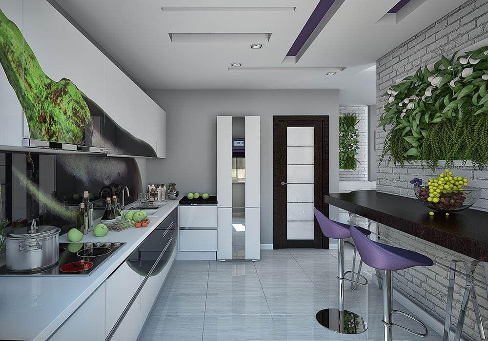 Интерьер прямоугольной кухни