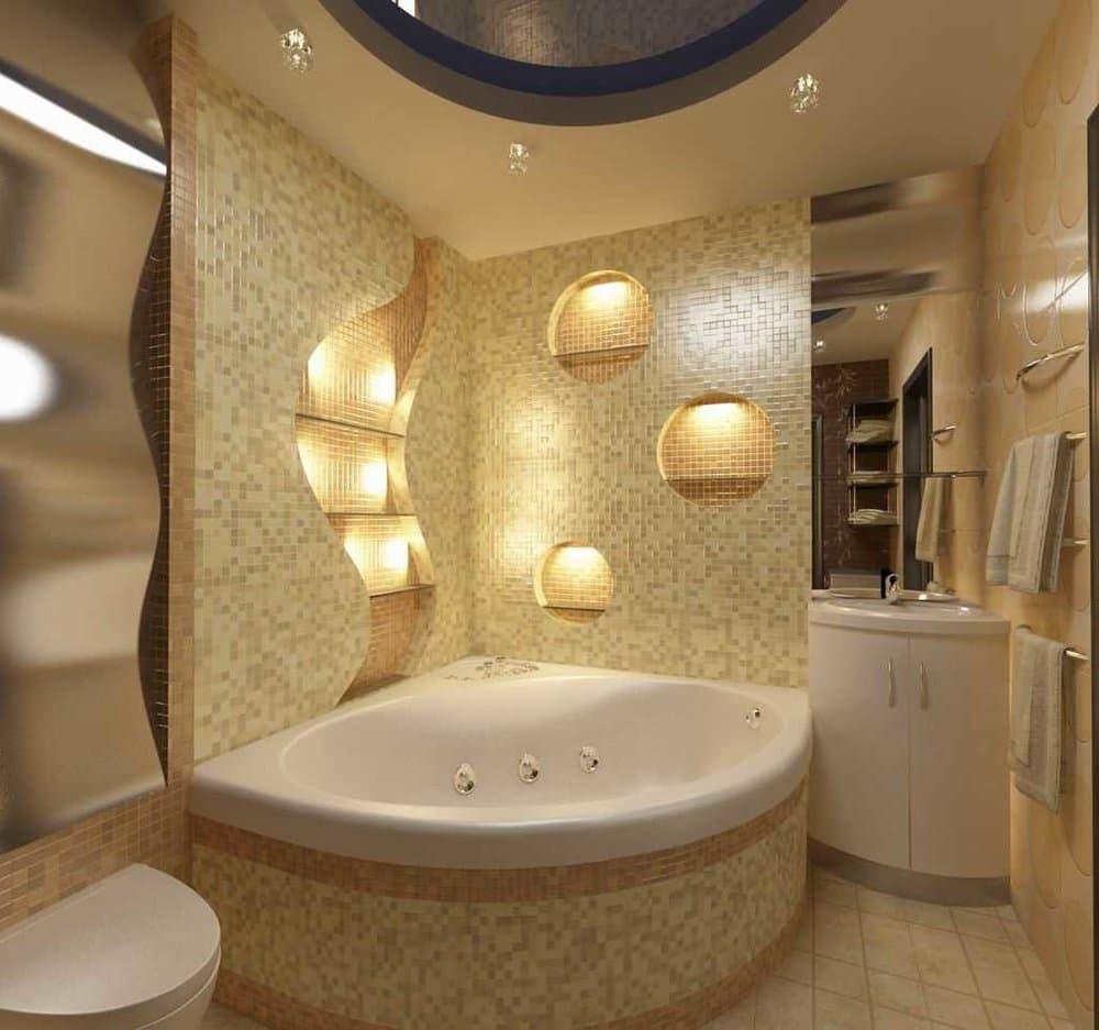 Угловая ванная в просторной ванной комнате