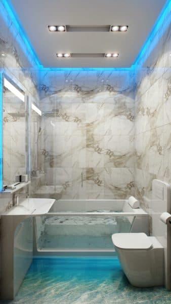 Ванная комната с точечными светильниками
