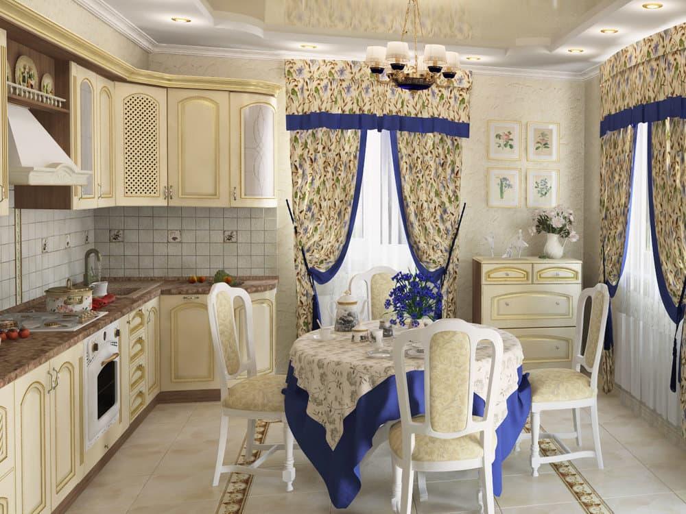 Применение текстиля на кухне в стиле прованс