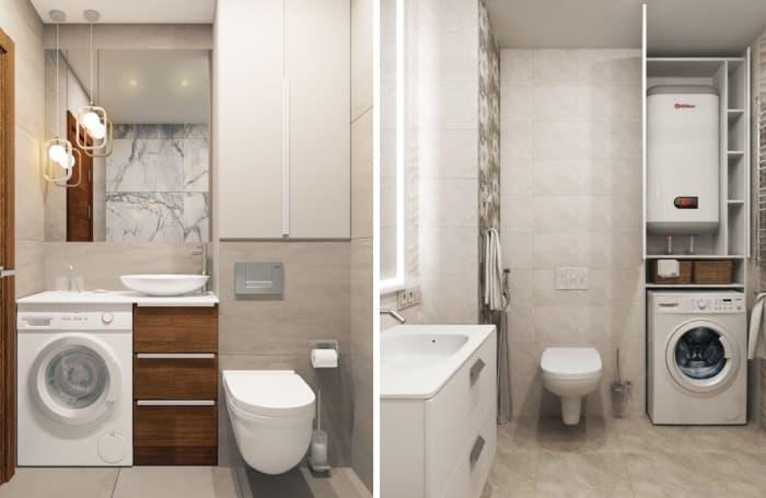 туалет со стиралкой и раковиной 14