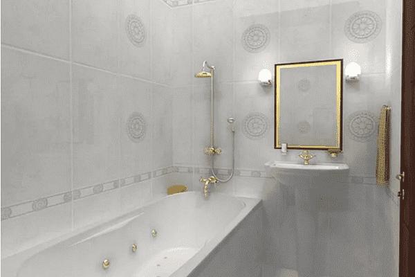 Белая ванна с рисунком