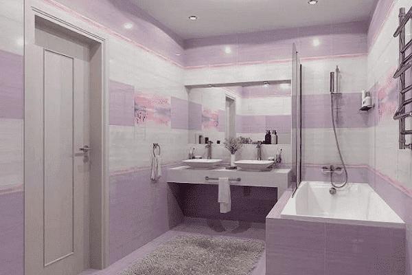 Фиолетовый тон в ванной