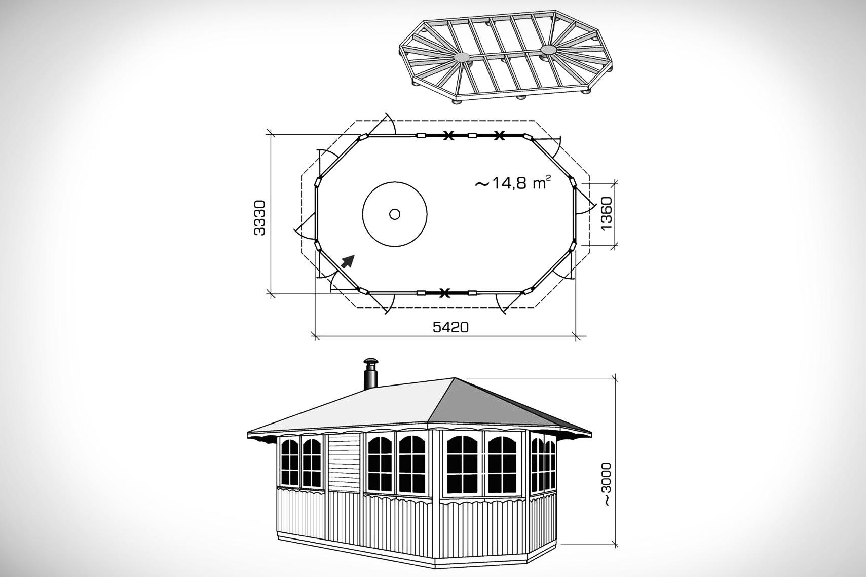 Схема закрытой летней кухни