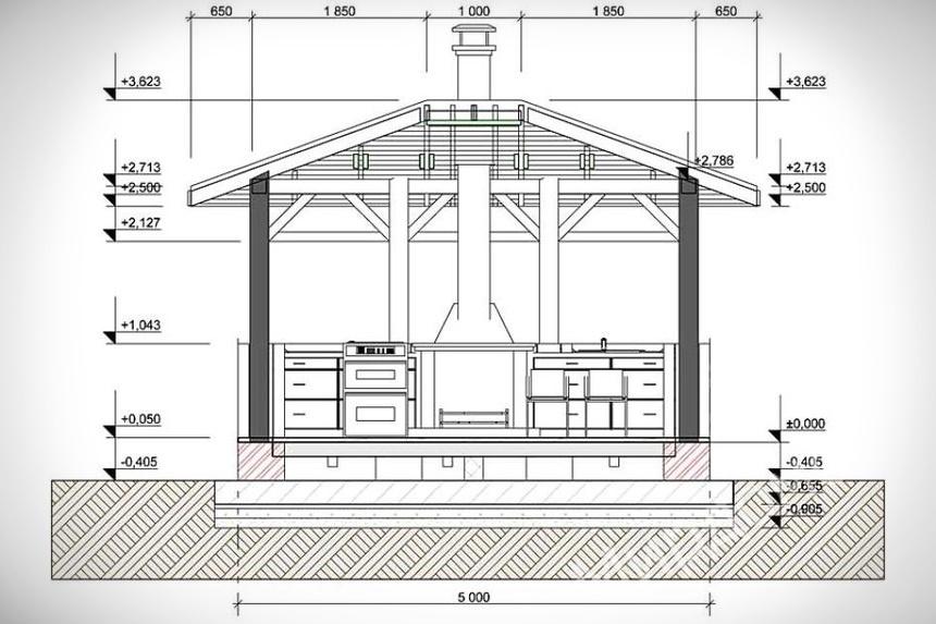 Схема открытой кухни
